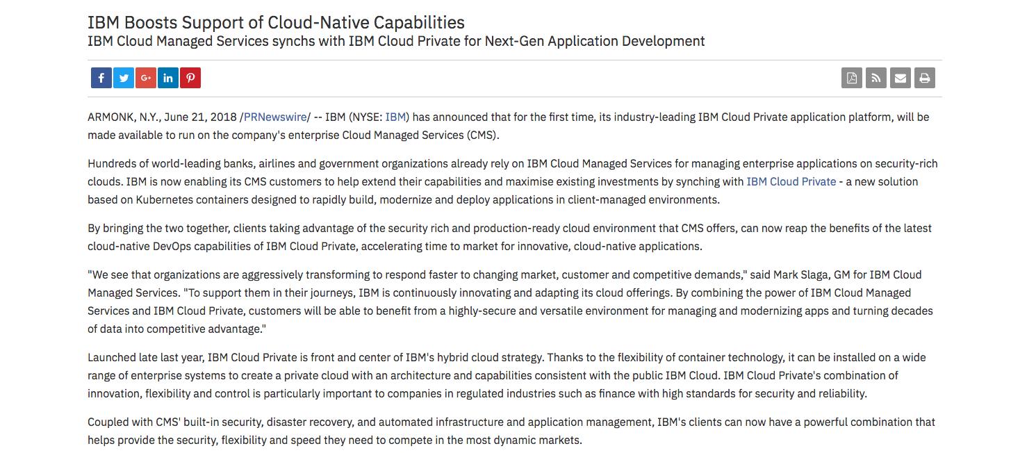 IBM雲端代管服務也可以部署自家私有容器軟體IBM Cloud Private