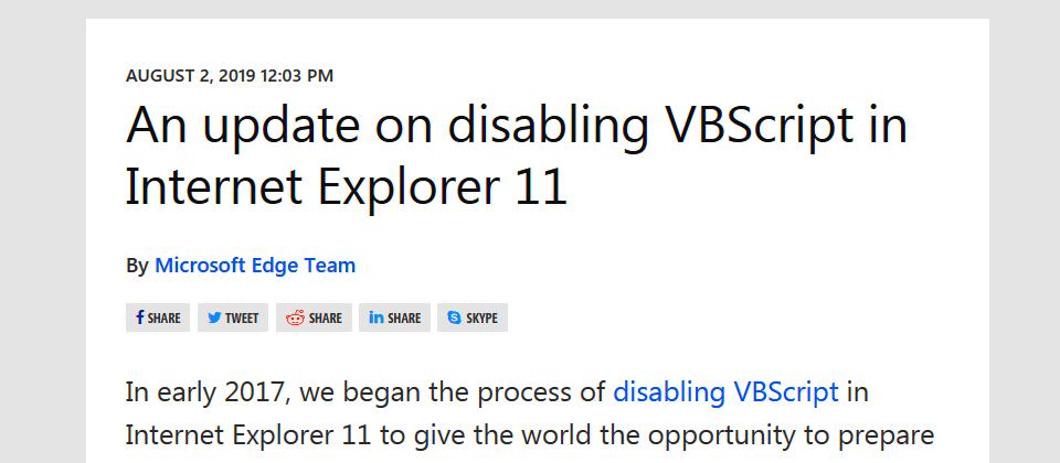 漏洞多得補不完,微軟本月將關閉Windows 7、8上IE11的VBScript