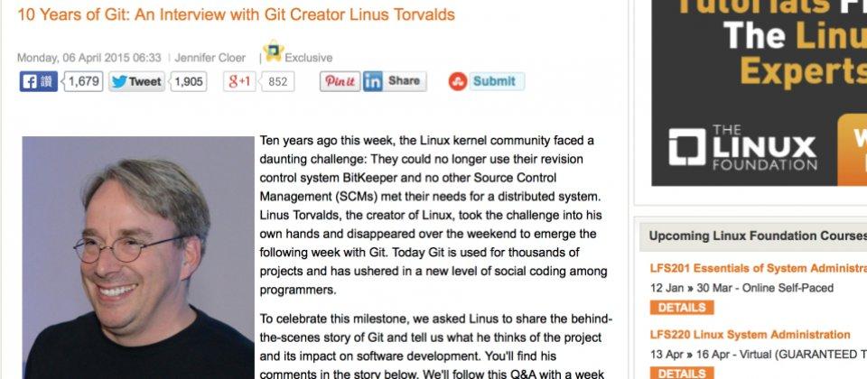 Git十歲了!Git之父Linus Torval...