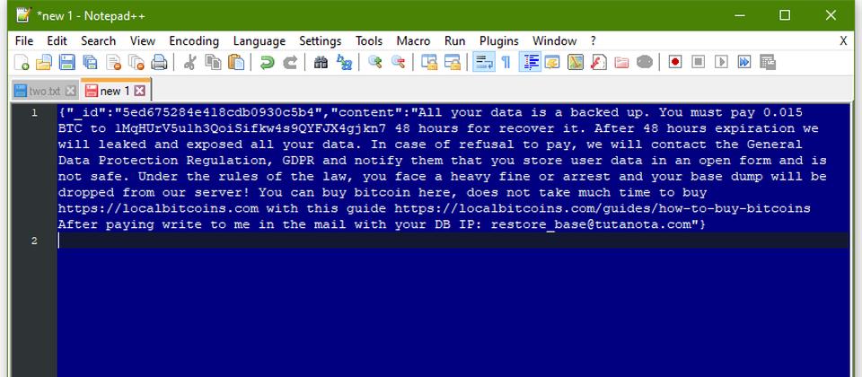駭客在清空MongoDB資料庫內容後,留下的勒索訊息。內容包含要求受害者支付比特幣到特定帳戶,並恐嚇不付錢就準備接受GDPR的處罰。