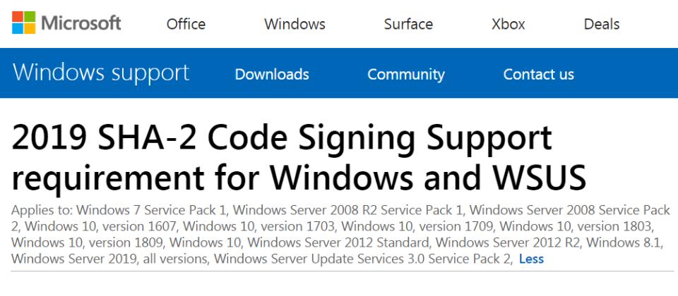 Win 7、Server 2008電腦得在7月前支援SHA-2演算法,才能獲得後續