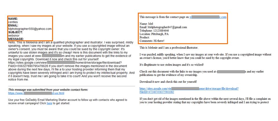 微軟發現一起利用企業網站表單的釣魚郵件攻擊,在他們提供的郵件樣本中,可以看到企業網站表單的常見欄位(橘框處),包含姓名與電子郵件信箱等資料,有的還有聯絡電話、住址,以及反映問題的產品名稱等欄位