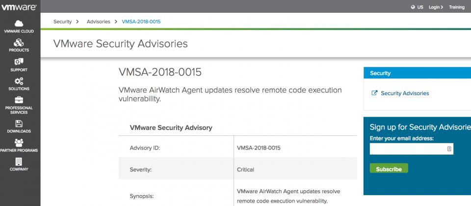 快更新! VMware AirWatch Agent爆遠端程式碼執行漏洞  iThome