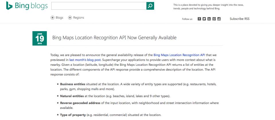 Bing Maps位置辨識API正式上線| iThome