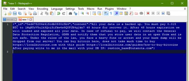 駭客在清空MongoDB資料庫內容後,留下的勒索信。內容包含要求受害者支付比特幣到特定帳戶,並恐嚇不付錢就準備接受GDPR的處罰。