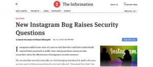 外媒The Information報導Instagram出現曝露部分用戶密碼漏洞