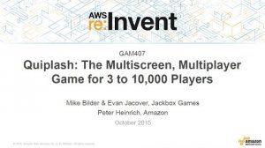 Embedded thumbnail for AWS re:Invent 2015 | (GAM407) Quiplash: Multiscreen, Multiplayer Game for 10,000