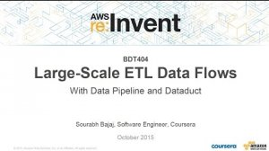 Embedded thumbnail for AWS re:Invent 2015   (BDT404) Large-Scale ETL Data Flows with AWS Data Pipeline & Dataduct