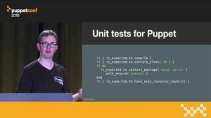 Embedded thumbnail for The Future of Testing Puppet Code – Gareth Rushgrove at PuppetConf 2016