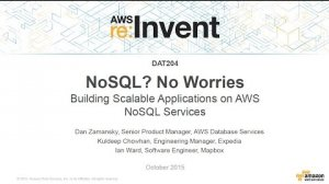 Embedded thumbnail for AWS re:Invent 2015 | (DAT204) Building Scalable Applications on AWS NoSQL Services