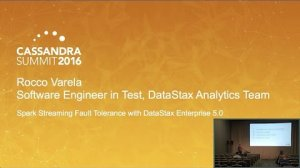 Embedded thumbnail for DataStax | Spark Streaming App with DSE File System (Rocco Varela) | Cassandra Summit 2016