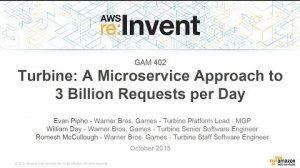 Embedded thumbnail for AWS re:Invent 2015 | (GAM402) Turbine: A Microservice Approach to Three Billion Game Requests a Day