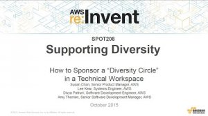 Embedded thumbnail for AWS re:Invent 2015 | (SPOT208) How to Sponsor a Diversity Circle in a Tech Workplace